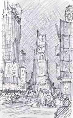 "Times Square, NYC, Pencil Sketch, 5""x8"""