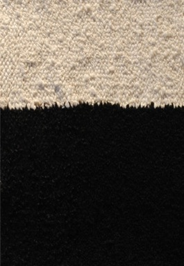 "Quarry Snow Study 1, wools, silk, linen, cotton, 10-3/4"" x 8-1/4"""