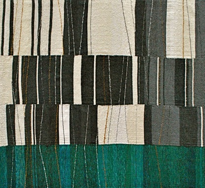 "Quarry with Water, wools, silk, linen, cotton, 55-1/2""  x 60-1/2"""