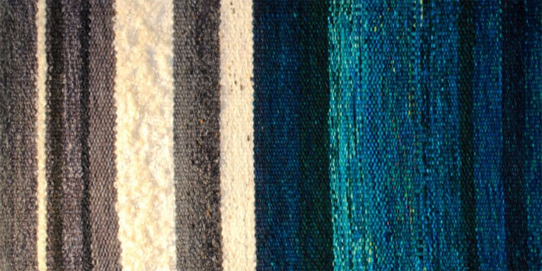 Quarry Water Study 2, wools, silk, linen, cotton, 11x20-3/4""
