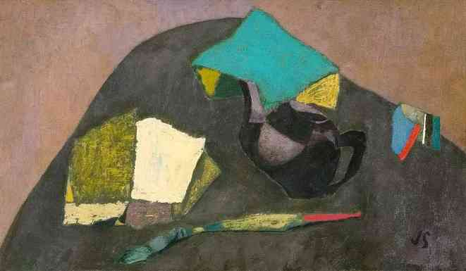 Tea Pot and Brush, oil on canvas, 20 x 12, 1940