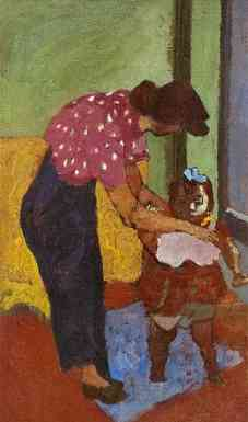 Mother And Child, oil on board, 20 x 12, 1945