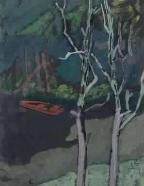 Boat and Trees, gouache, 14 x 11, 1940