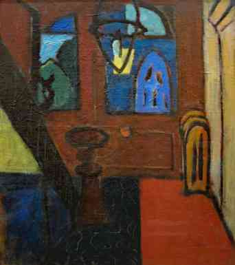 Studio Hallway, oil on canvas,  22 x 20, 1937