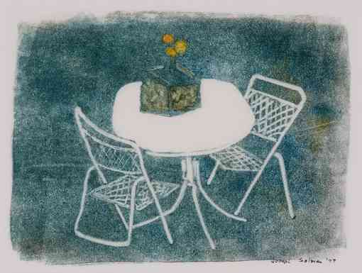 Garden Chairs, monotype, 12 x 16