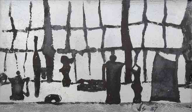 Studio Interior, Sumi ink on board, 15 x 24, 1980