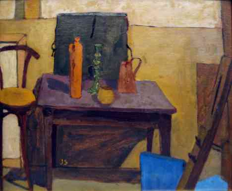 Still Life With Artist Folio, oil on board, 14x18, 1948