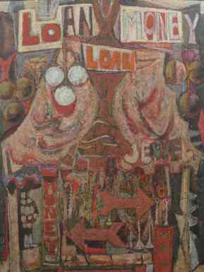 Karl Zerbe, Pawn Shop, polymer tempera on canvas, 46x34, 1951