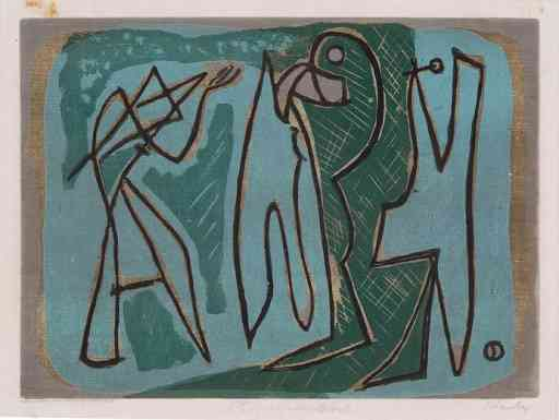 Figures In Green And Black, woodcut, 1935