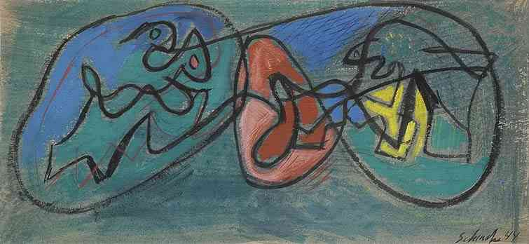Shape Abstraction, chalk on board	, 7 3/4 x 16, 1944