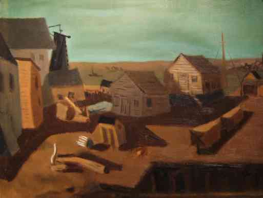 Untitled (Gloucester Harbor Fisheries), oil on canvas, 1933, 17 7/8 x 23 15/16
