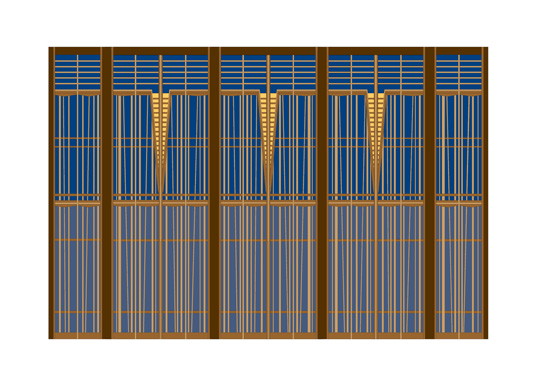 "Design for Stage Screen–Blue, inkjet print, 16-1/2"" x 23"""