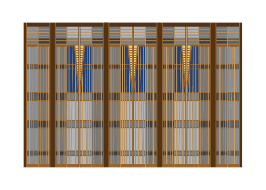 "Design for Stage Screen–Plaid, inkjet print, 16-1/2"" x 23"""