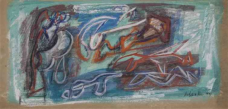 Abstraction in Turquoise and Red, chalk on board, 8 x 17, 1944