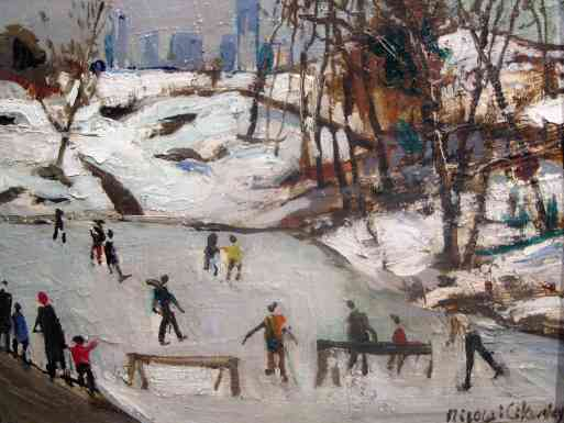 Skating In Central Park, oil on board 7x10